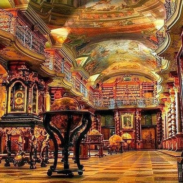 The ornate Klementinum Library in Prague.