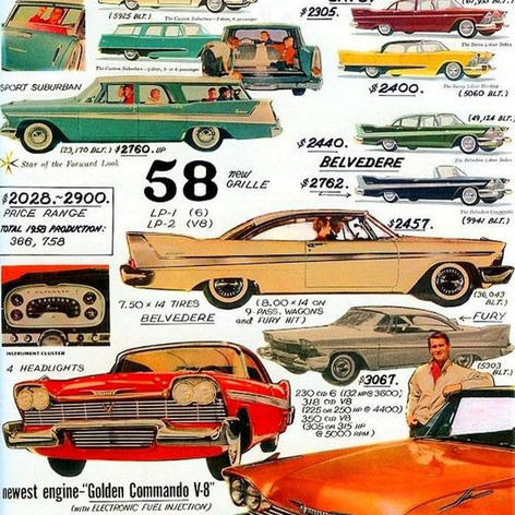 1958 Plymouth model and price chart
