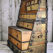 Designed and built in the late 1800's, this steamer trunk coverts into a stand-up dresser so the traveler doesn't have to unpack.