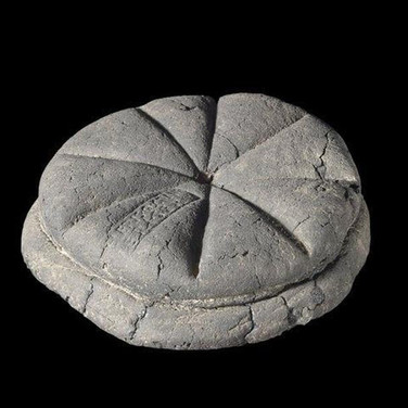 Carbonized bread from Pompeii that still has the baker's stamp on it, 79 AD.