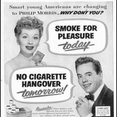 Lucy and Desi in a Philip Morris cigarette ad, 1952