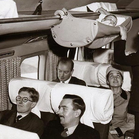 How babies traveled on airplanes in the 1960's