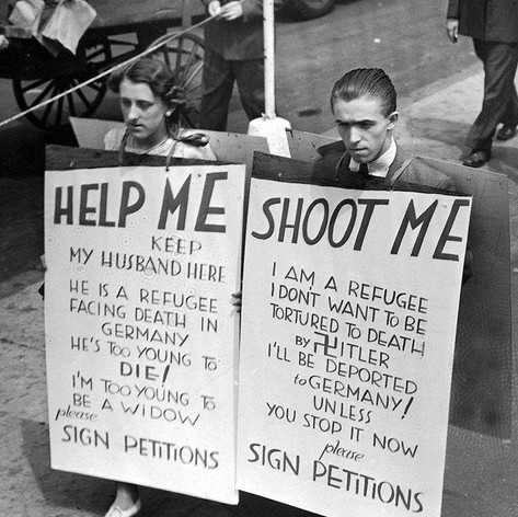 Jewish people protesting in Ellis Island against their deportation back to Germany. (1936)