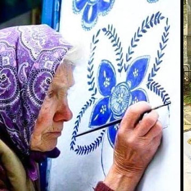 90-year-old Grandma in the Czech Republic passes time by artistically painting houses.