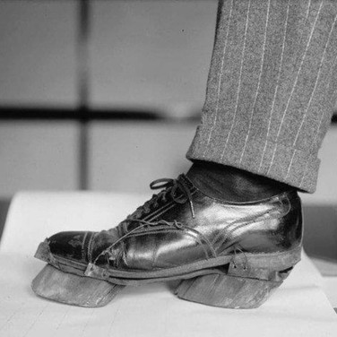 'Cow shoes' used by moonshiners in the Prohibition days to disguise their footprints, 1924