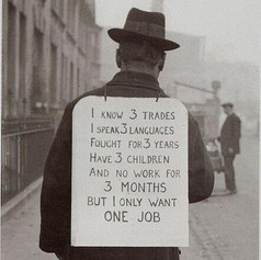 A man promoting himself during The Great Depression, 1930's