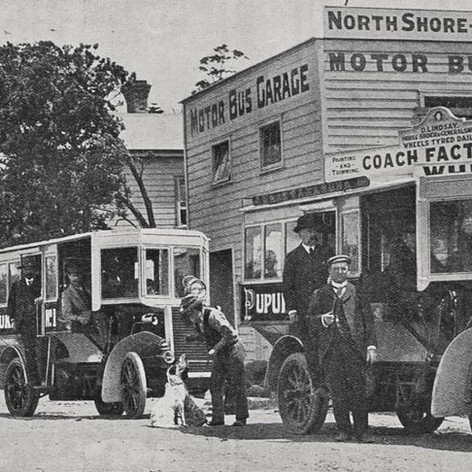 Takapuna motor 'bus service: the new vehicles at the garage, Devonport 1904