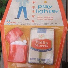 Mister Merry's play lighter toy with bubble gum cigarettes from the 1960's