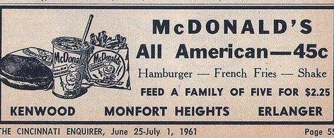McDonald's advertisement from 1961