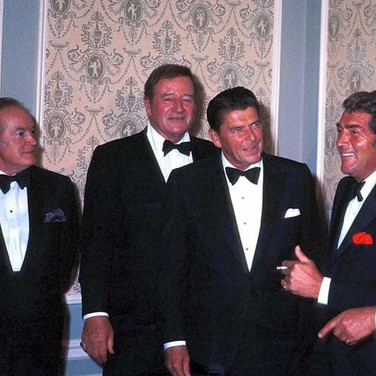 One of the most iconic photographs ever taken/ Bob Hope, John Wayne, Ronald Reagan, Dean Martin, and Frank Sinatra (circa 1975) **