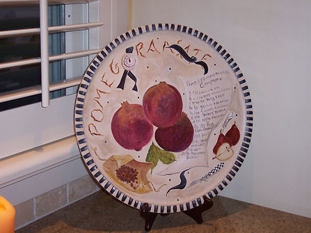 Painted wooden pomegranate plate.jpg