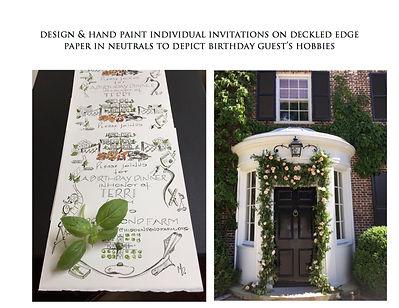 Green & White Invitations on Deckled edg