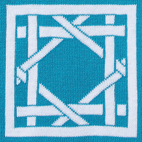 British Cane Knitted Throw teal/white