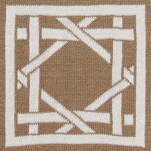 British Cane Knitted Throw sand/ivory