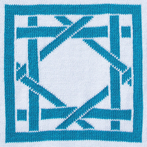 British Cane Knitted Throw white/teal