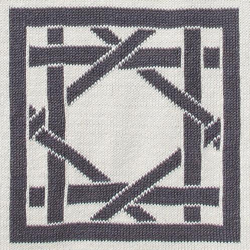 British Cane Knitted Throw ivory/gray