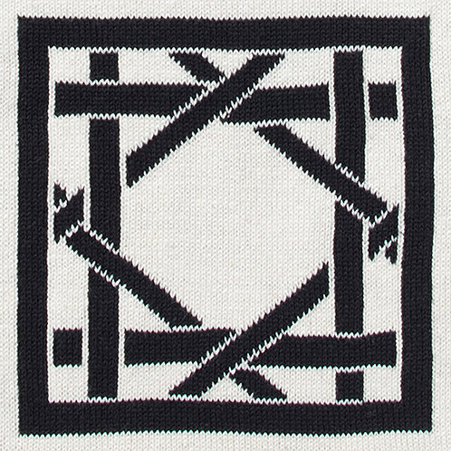 British Cane Knitted Throw ivory/black