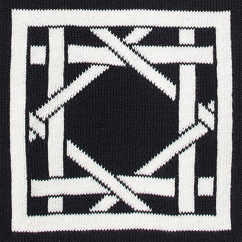 British Cane Embroidered black/ivory