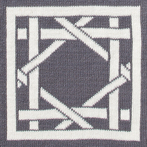 British Cane Knitted Throw gray/ivory