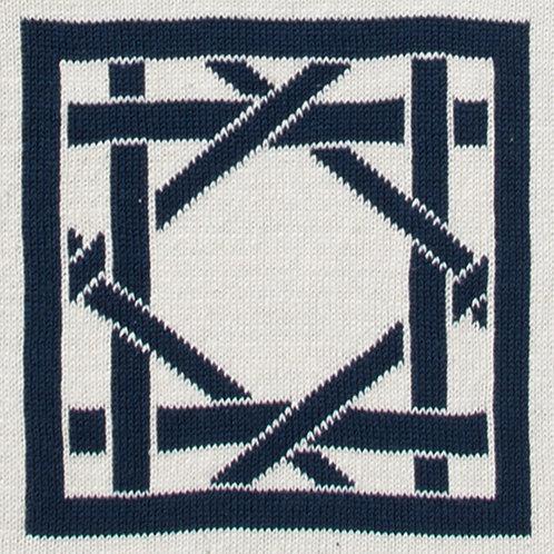 British Cane Knitted Throw ivory/navy