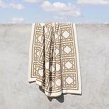 British Cane Knitted Throw_Ivory & Sand