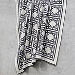 British Cane Knitted Throw_Ivory & Gray