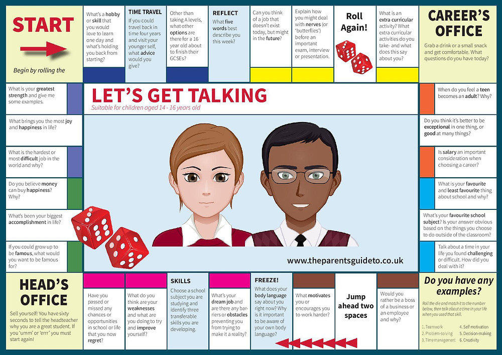 Careers board game - suitable for children aged 14-16 years old. How to get your teen talking