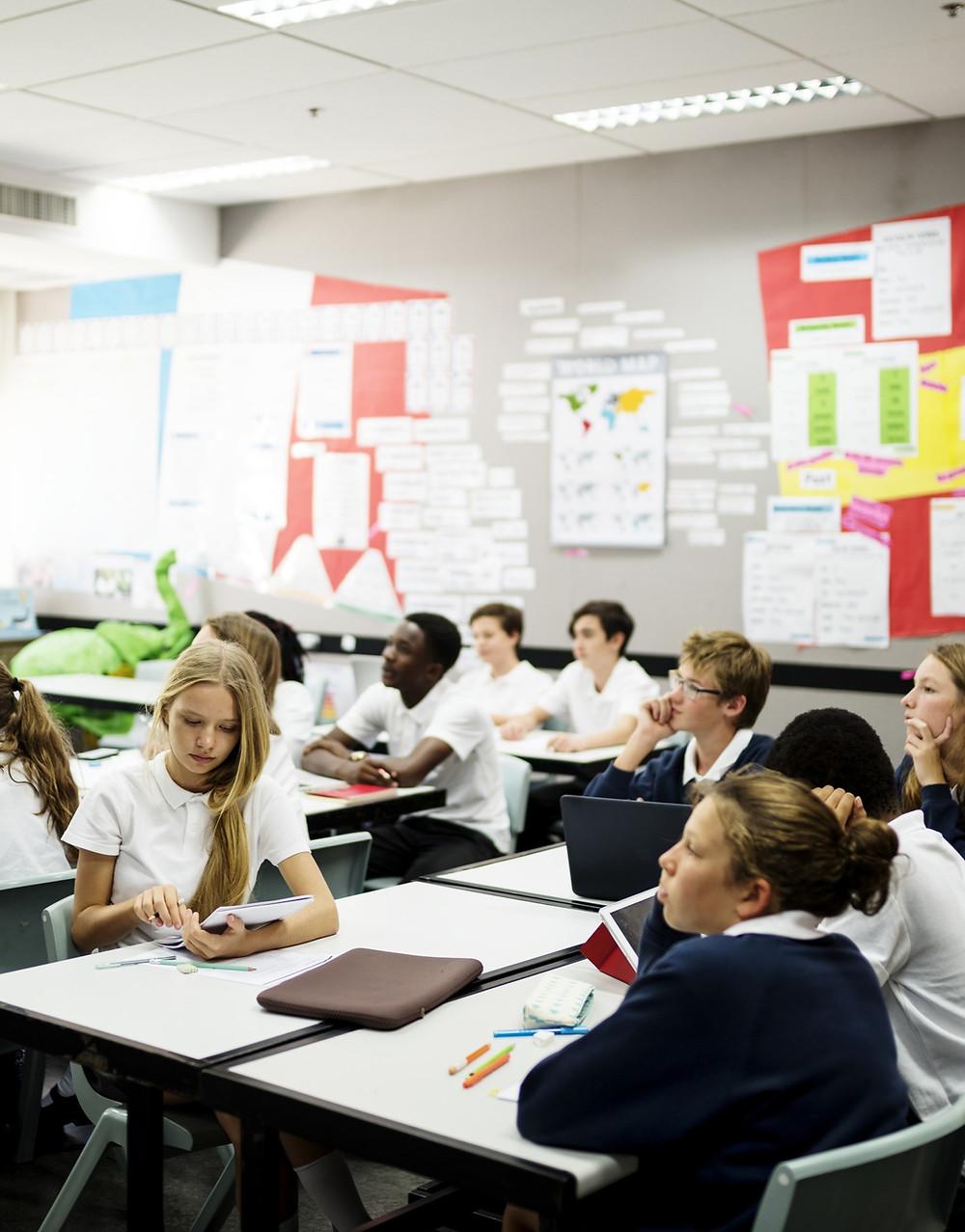 Secondary school classroom - students receiving RSE