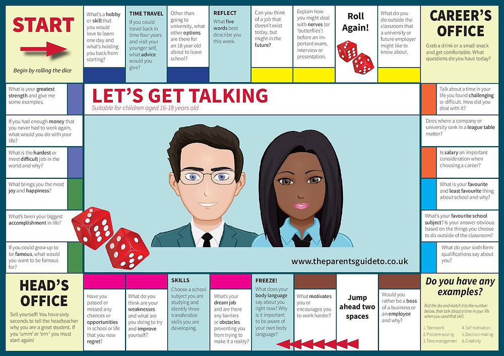 Careers board game - suitable for children aged 16-18 years old. How to get your teen talking