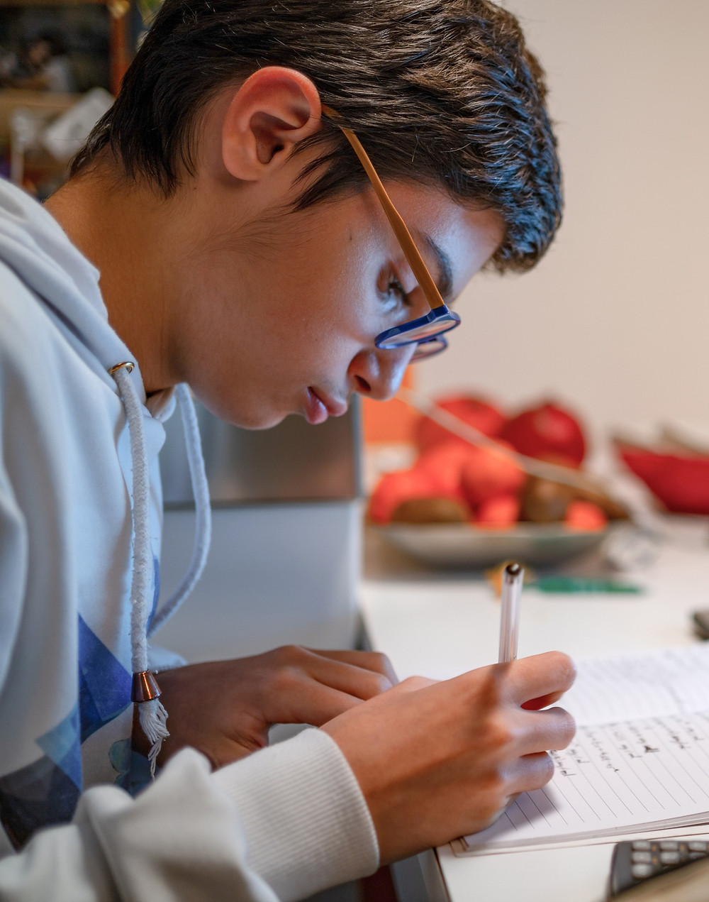 Teenage boy taking sixth form exams