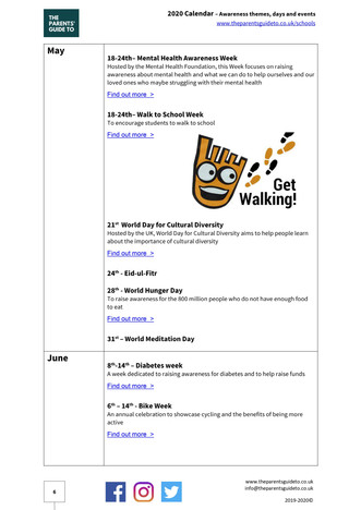 Awareness themes, days and events