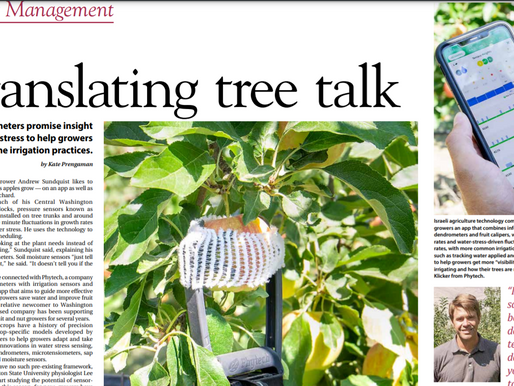 """""""Translating tree talk"""" - A Good Fruit article covering Phytech through the eyes of our customers"""