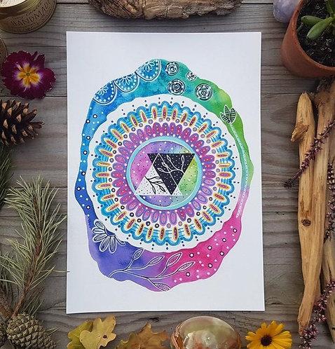Perfect balance art print -yin and yang painting - mandala art - spiritual decor