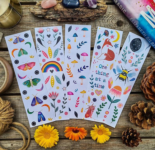 Illustrated folk bookmarks - Moth - Rainbow - Moon - Mushroom