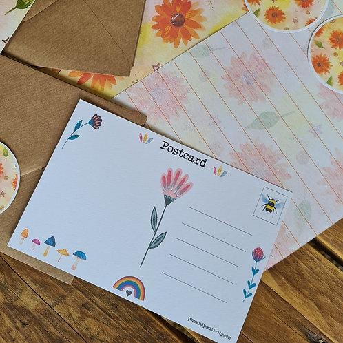 Sunflower Writing Set - Floral Journaling - Yellow Stationery - Writing paper pa