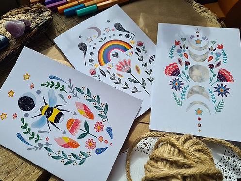 Folk art greeting cards - blank card set