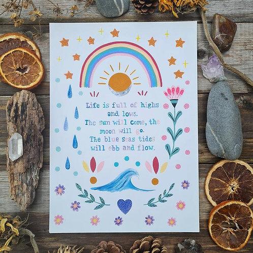 Change quote art print - Rainbow painting - moon folk art - Sun illustration - P