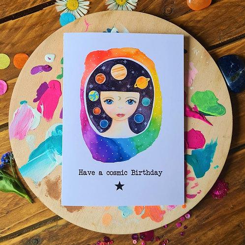 Cosmic Birthday - illustrated card - Greeting card - Birthday card
