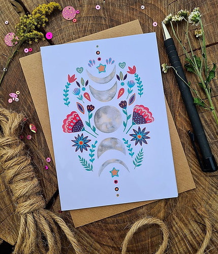 Moon Phases Folk Card - Birthday card - Blank card