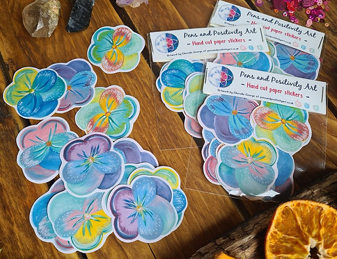 Pansy planner stickers - flower gift wrap - illustrated stickers - journal stick