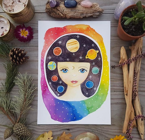 Space girl print - Planet painting - Horoscope art print - Astronomy poster - Sc