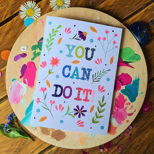 You can do it - illustrated card - Greeting card - Good luck card