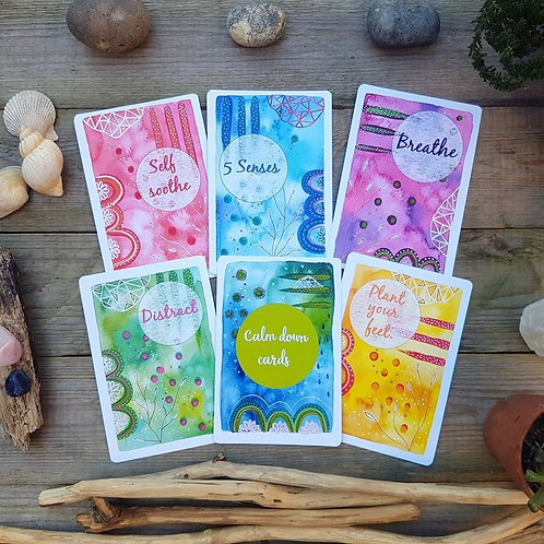 Calm down cards - Coping strategy - Anxiety postcards - Stress relief - Mental h