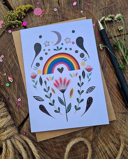 Folk Rainbow Illustrated card - Lockdown card - Mothers Day card