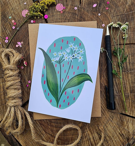 Wild garlic Spring card - Birthday card - Blank card