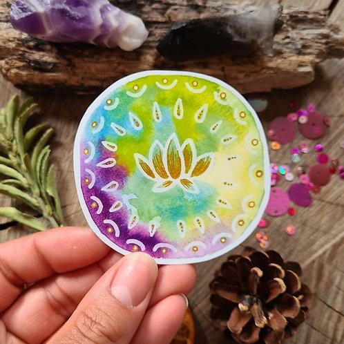 Tie dye lotus flower illustrated vinyl sticker - journal sticker - laptop sticke
