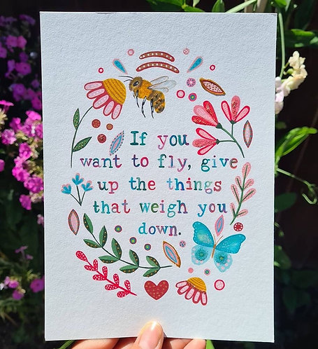 Uplifting quote print - Positivity painting - Folk art - Honeybee illustration -