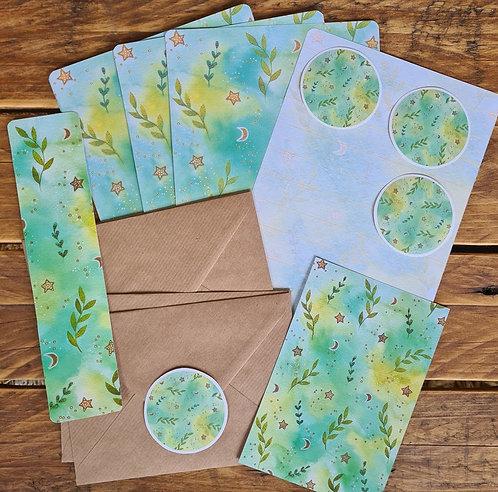 Botanical Writing Set - Plant Journaling - Green Stationery - Writing paper pack