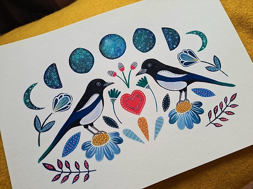 Two magpies art print -Two for joy painting - Magpie poster - Magic illustration