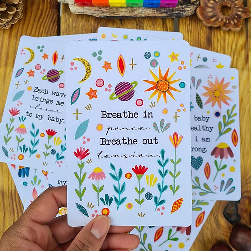 Labour and childbirth affirmation cards - illustrated birth mantras - hypnobirth